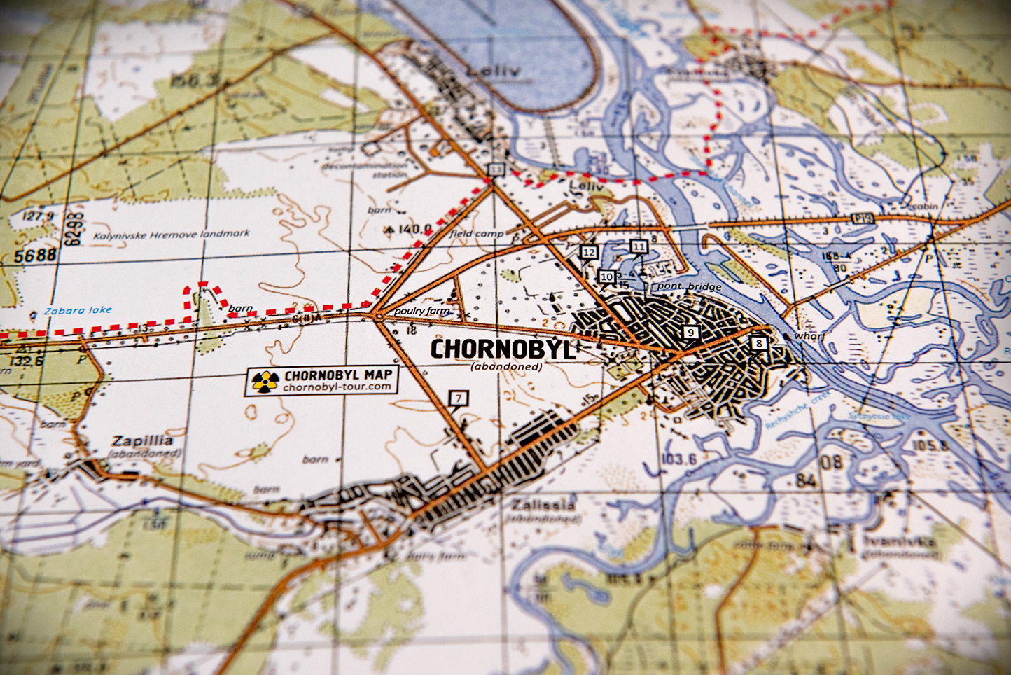 The first full detailed map of the Chornobyl Zone with places of ...