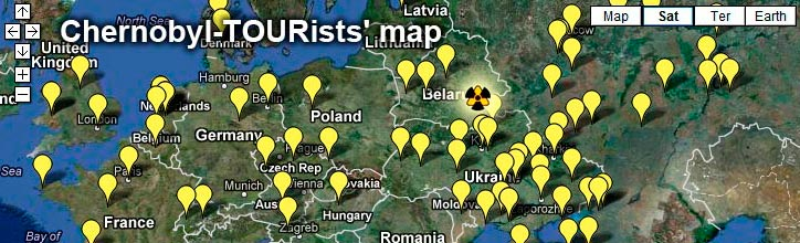 The map of the visitors of the Chernobyl and Pripyat